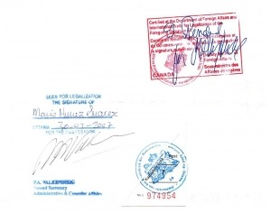 Global Affairs Canada Authentication Stamp